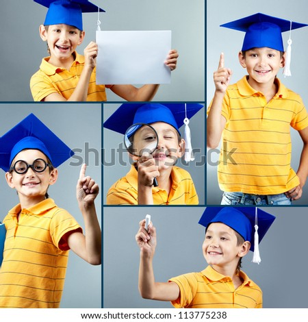 Portrait of happy boy in graduation hat over grey background
