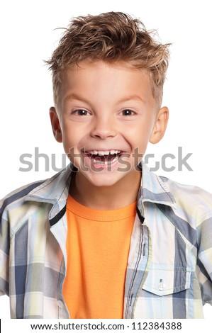 Portrait of happy boy isolated on white background