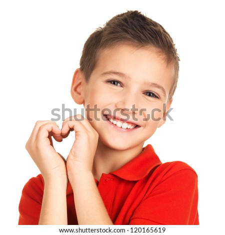 Portrait of happy boy with a heart shape isolated on white background