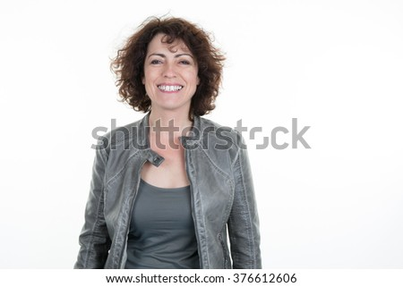 Portrait of happy business woman isolated on white background #376612606