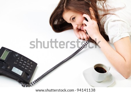 Portrait Of Happy business woman on phone call