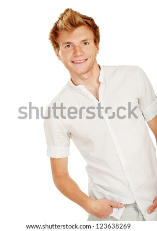 Portrait of happy casual young man standing , Isolated on white background