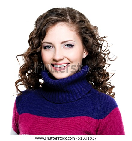 Portrait of happy cheerful beautiful woman in casuals