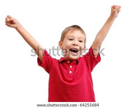 Portrait of happy child isolated on white background