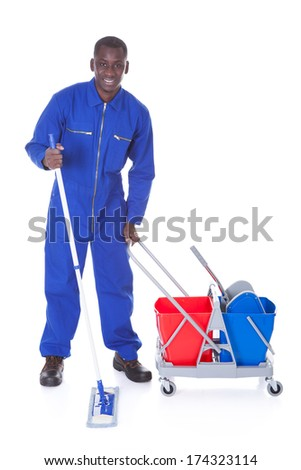 Portrait Of Happy Cleaner Cleaning With Mop Over White Background