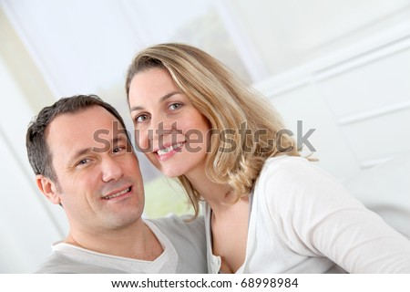 stock photo : Portrait of happy couple at home