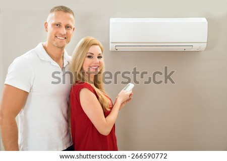 Portrait Of Happy Couple Holding Remote Control Air Conditioner