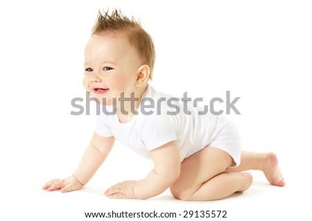 portrait of happy crawling baby boy