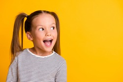 Portrait of happy excited amazed open mouth kid child girl look in copyspace isolated on yellow color background