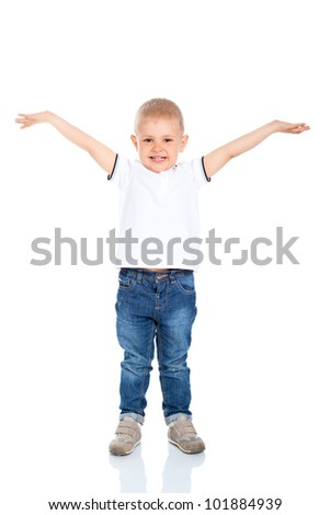 Portrait of happy excited joyful beautiful little boy smile, child standing hold arms hands up isolated on white background