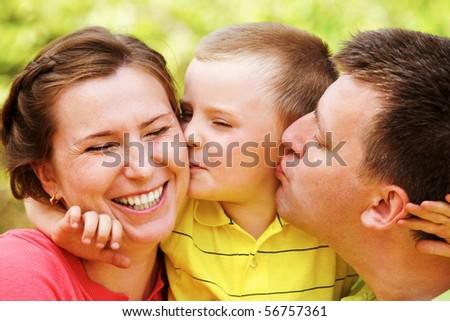 Portrait of happy family members having good time