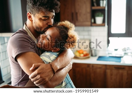 Portrait of happy father and his daughter. Fun, love, happiness at home