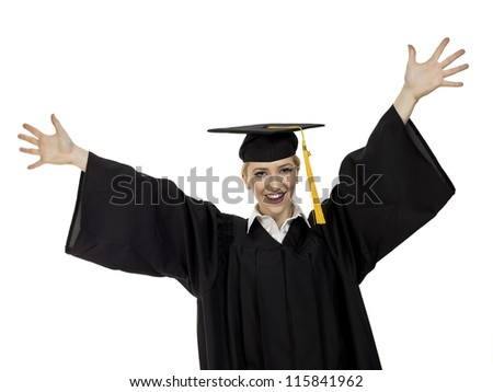 Portrait of happy female graduated student against white background