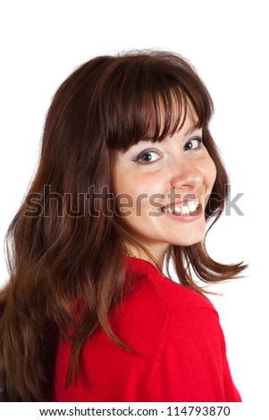 Portrait of happy girl over white background