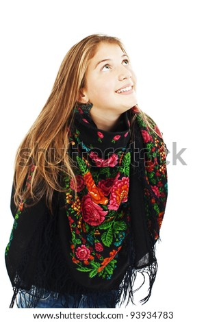 Portrait of happy girl teenager looking up. Isolated on white background