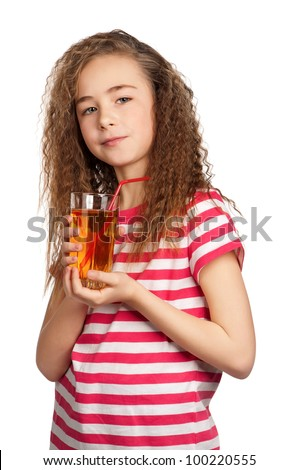 Portrait of happy girl with apple juice isolated on white background
