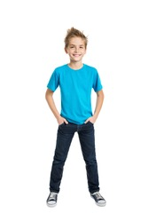 Portrait of happy joyful beautiful boy isolated on white background