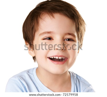 stock photo : Portrait of happy joyful beautiful little boy isolated on white background