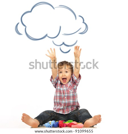 Portrait of happy joyful beautiful little boy isolated on white background with blank cloud balloon overhead