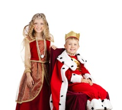 Portrait of Happy Little Boy and Girl are in the King and Queen Carnival Costumes