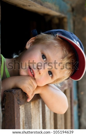 Portrait of happy little boy. outdoors