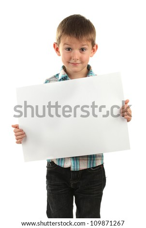 portrait of happy little boy with sheet of paper isolated on white
