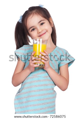 Portrait of happy little girl drinking orange juice