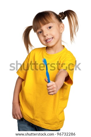 Portrait of happy little girl with tooth brush isolated on white background