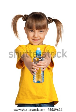 Portrait of happy little girl with water from plastic bottle isolated on white background
