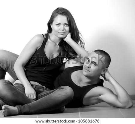 Portrait of happy loving couple - stock photo