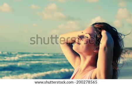 Portrait of happy loving woman outdoors #200278565