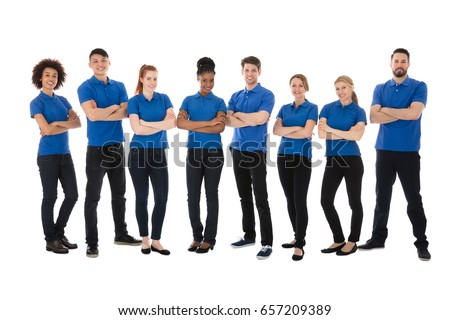 Portrait Of Happy Male And Female Janitor Over White Background