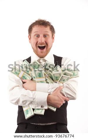 portrait of happy man holding bundles of money isolated on white