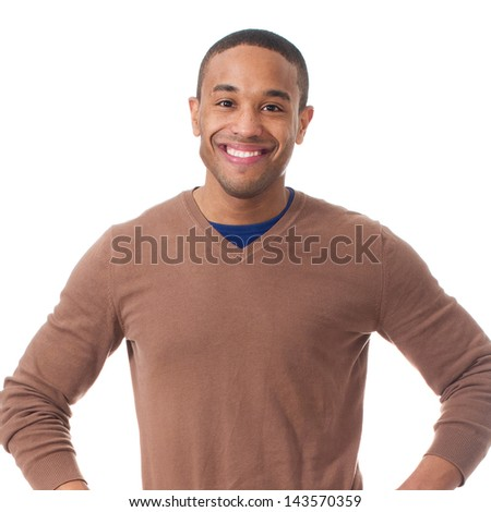 Portrait Of Happy Man On White Background