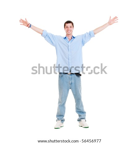 portrait of happy man over white background