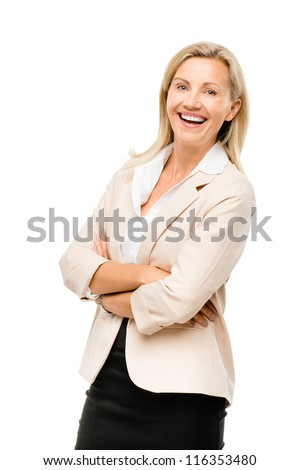 Portrait of happy Mature business woman middle aged woman smiling isolated on white background