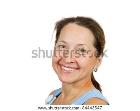 Portrait of happy mature woman. Isolated over white background