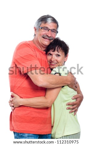 Portrait of happy middle aged couple in love, isolated on white background.