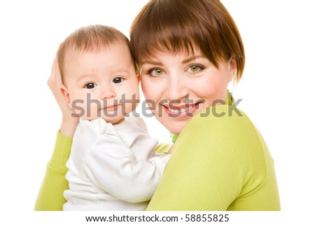 Portrait of happy mom and baby