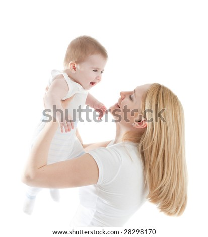 Portrait of happy mother with joyful baby boy
