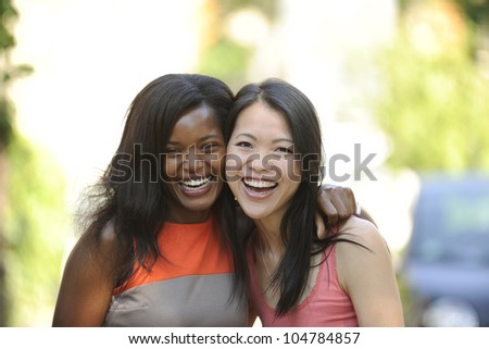 portrait of happy multiethnic friends
