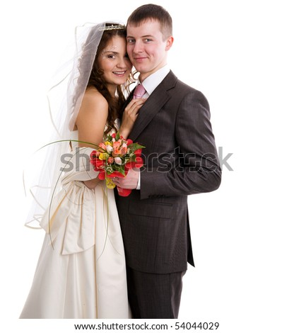 Portrait of Happy New Married couple isolated on white