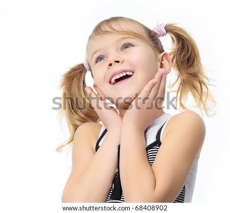 portrait of happy pretty girl on white background