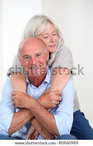 Portrait of happy senior couple - stock photo