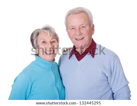 Portrait Of Happy Senior Couple Isolated Over White Background - stock photo