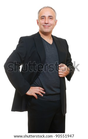 portrait of happy senior man in black suit. isolated on white background