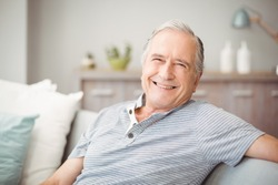 Portrait of happy senior man smiling at home