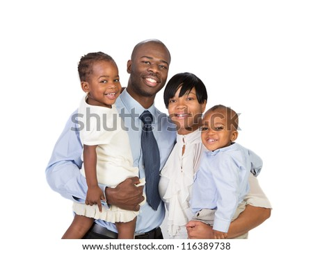 Portrait of Happy Smiling African American Family Isolated on White Background