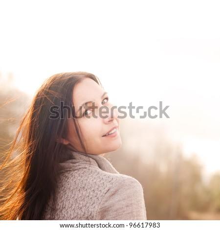 portrait of happy smiling brunette