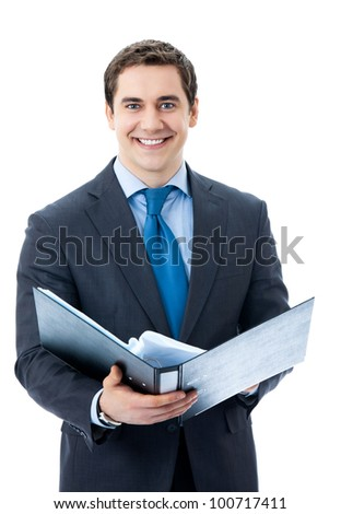 Portrait of happy smiling business man with black folder, isolated over white background